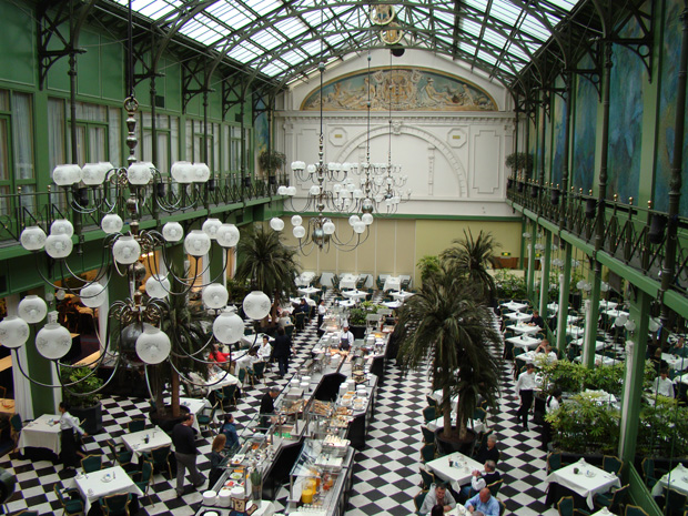 The fabulous Winter Garden Restaurant at the NH Grand Hotel Krasnapolsky