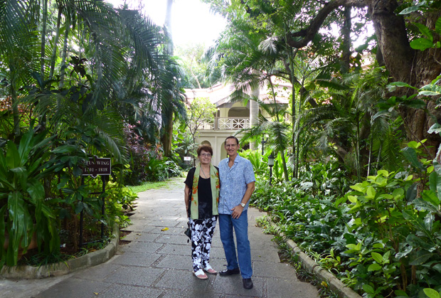 Above  My wife  Diana and I  exploring some of the 20 acres of lush  tropical foliage that surrounds the five star Taj West End Hotel in  Bangalore. DomainX in Bangalore  India Will Be a Feast for the Eyes as Well